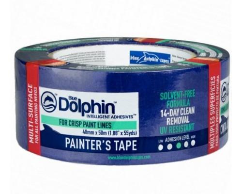 Лента малярная для деликатных поверхностей Blue Dolphin 48мм х 50м. Польша.